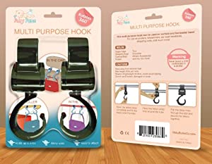 Stroller Hooks - A Great Hanger For Diaper Bags, Purses, Shopping Bags - More Stable Than Clips - Easy For Mommy To Use- Lifetime Hassle-Free Replacement Guarantee!