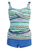 Marina West Twisted Top Tankini Swimsuit,Large,Wave Blue