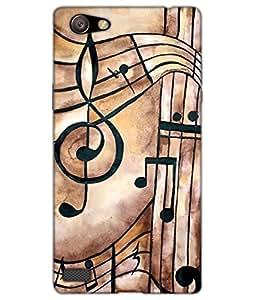 Dukancart Music Symbol Cream Back Cover for Oppo Neo 7 DCON70735