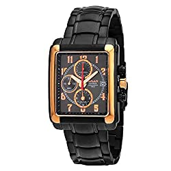 Omax Date Analog Chronograph Rose Gold Case with Black Dial Mens Watch - CS139