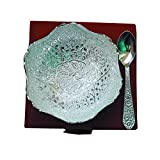 Handi Trendy Silver Plated Peacock Carved Designer Brass Bowl