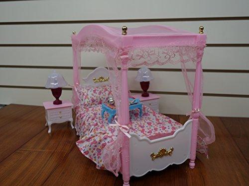 barbie size dollhouse furniture master bed room set. Black Bedroom Furniture Sets. Home Design Ideas