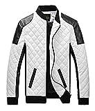 (K-JOY)秋冬 メンズ ライダース ジャケット ブルゾン 合革 レザージャケット ジャンパー F274 (L, 白)