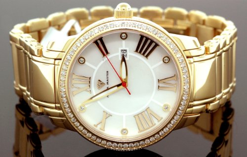 AQUA MASTER 0113MVR2DTZ - Reloj para hombres, correa de metal color amarillo