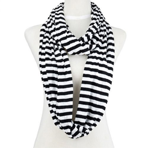 Black Infinity Scarf and White Stripe Scarves (Nl-2002b)