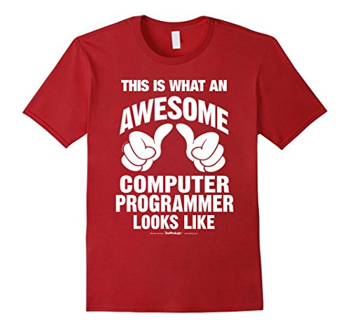Men's What An Awesome Computer Programmer Looks Like Funny T-Shirt 2XL Cranberry