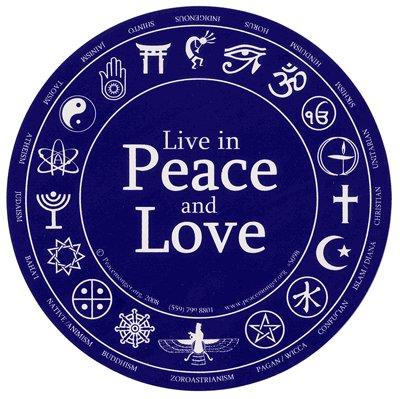 Live in Peace and Love. Bumper Sticker.