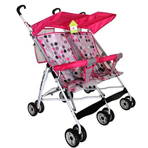 Qianle Baby Infant Tandem Strollers Double Jogger Travel Bike Rose