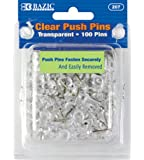 BAZIC Transparent Push Pins, Clear, 100 Per Pack