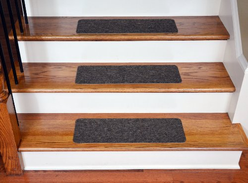 "Dean Carpet Stair Treads 23"" x 8"" Brown (Set of 13) - Easy DIY Installation with Included Double-Sided Tape"