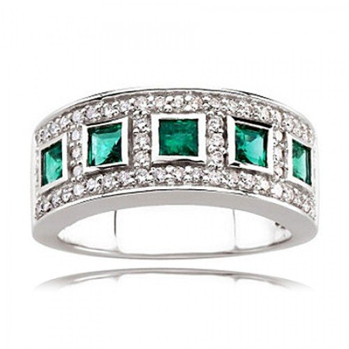 14k White Gold Princess Emerald Ring Defined By Diamonds
