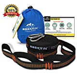 Hammock Straps (Set of 2) Abertin Hammock Hanging Tree Straps - Heavy Duty, Extra Long, Lightweight, with Adjustable Loops, 100% No Stretch Suspension System | with 2 Carabiners