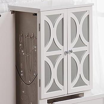 Belham Living Mirrored Lattice Front Jewelry Armoire - High Gloss White