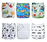 Naturally Nature Cloth Diaper Alva Baby 6pcs Pack Washable Adjustable Fits 6-33 Lb with 12 Inserts