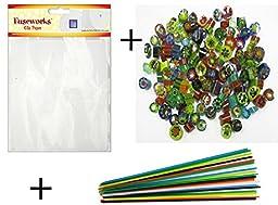 Microwave Kiln Glass Fusing Kit, Fuseworks Shelf Paper, Millefiori & Stringers 90 COE