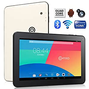 """Contixo Q102 10.1"""" Quad Core Google Android 4.4 KitKat Tablet PC, 1GB RAM, 32GB Nand Flash, HDMI, Bluetooth, Dual Camera, Google Play Pre-installed, 3D Game Supported, UV Coating Protection (1GB RAM, 32GB Storage, White)"""
