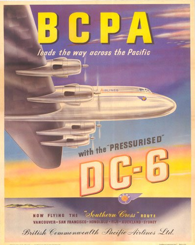 """""""BCPA(British Commonwealth Pacific Airlines) DC-6 Plane"""" Vintage Travel Poster"""