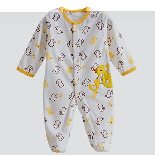 Baby Footie Romper Newborn Pajamas Sleep & Play Outfit Jumpsuit Fleece Bodysuit Snug Fit Sleepwear Snap Up Winter Layette Coveralls Yellow Duck 6-9Months/73cm