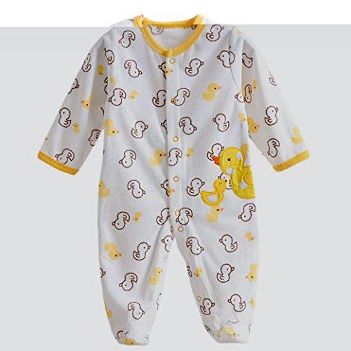 Baby Footie Romper Newborn Pajamas Sleep & Play Outfit Jumpsuit Fleece Bodysuit Snug Fit Sleepwear Snap Up Winter Layette Coveralls Yellow Duck 6-9Months/73cm