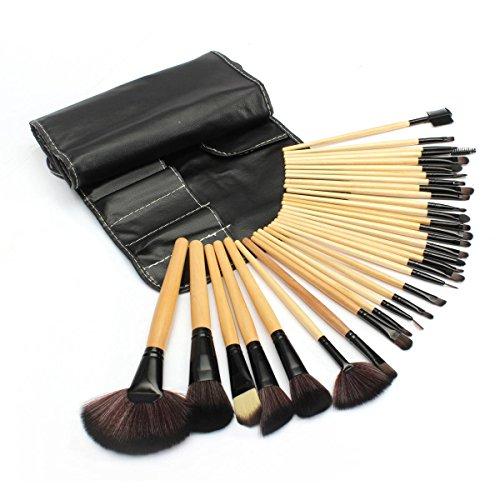 LuckyFine 32Pcs Noir Pinceaux Maquillage Poudre Fondation Yeux Papières Trousse Cosmétique Set