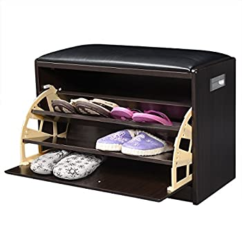 Giantex Wood Shoe Storage Cabinet Bench Ottoman Closet Shelf Entryway Pu Leather Seat