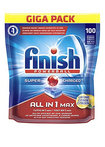 Finish Tutto in Uno Max Detergente 100 Tabs, Lemon, 1860 gr