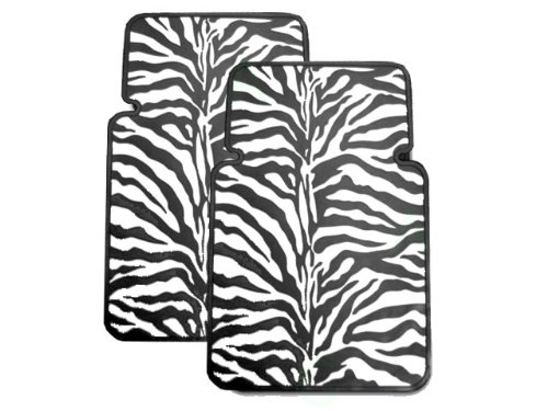 Set of 2 Universal-Fit Safari Animal Print Front Rubber Floor Mats - Zebra Black and White