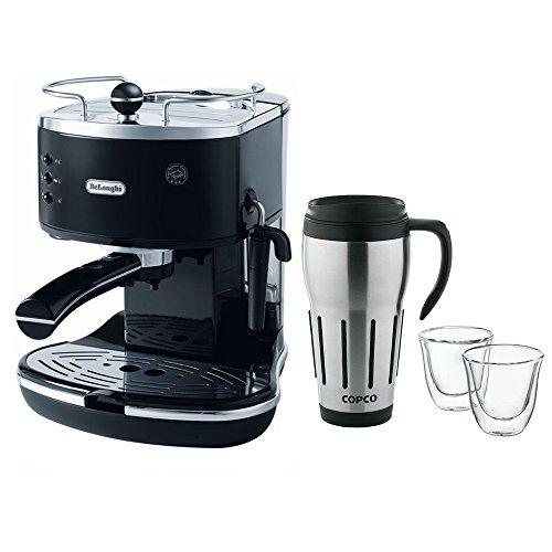 Double Mug Coffee Maker : DeLonghi Icona Pump Espresso Maker - Black (ECO310BK) with Double Walled Thermo Espresso Glasses ...