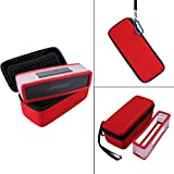 Hard Travel Bag Carrying Case with Soft Cover for Bose Soundlink Mini I and Mini II Bluetooth Speaker - Fits The Charger Cable(Red) (Color: Red)