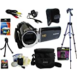 """Samsung F90 Black Camcorder with 2.7"""" LCD Screen Hd Video Recording + 8 Piece Bundle Deluxe Accessory Kit"""