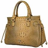 Handtasche mit Krokodilprägung, camel cognac hellbraun, mit diversen Innenfächern