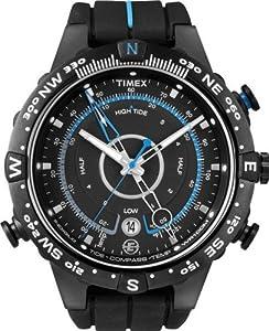 Timex Men's T49859 Intelligent Quartz Adventure Series Tide Temp Compass Black Silicone Strap Watch