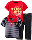 U.S. Polo Assn. Baby-Boys Infant 3 Piece Stripe Polo Graphic T-Shirt and 5-Pocket Denim Jean Set, Classic Navy, 18 Months
