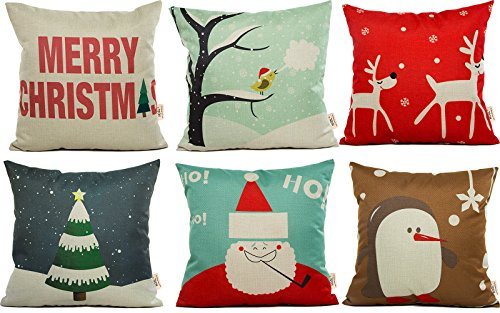 HOSL-SD21-Merry-Christmas-Series-Blend-Linen-Throw-Pillow-Case-Decorative-Cushion-Cover-Pillowcase-Square-18-Set-of-6