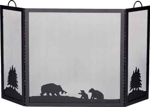 Blue Rhino® Deluxe 3 - Panel Wrought Iron Fireplace Screen, BEAR (Blue Rhino Fireplace Screen compare prices)