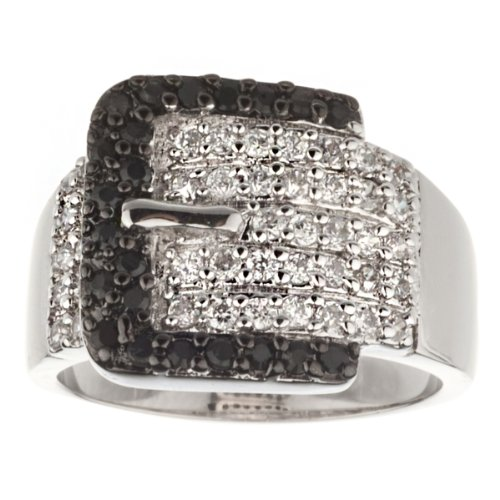 New 925 Sterling Silver Black & White Cz Belt Buckle Ring (7) (Silver Belt Buckle Ring compare prices)