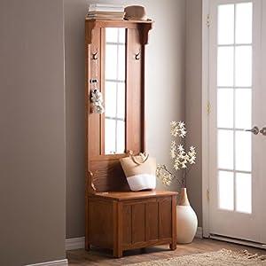 Amazon Com Wooden Entryway Tall Hall Tree Bench Coat And