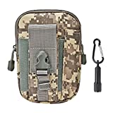 Tactical Pouch - Compact Water-resistant Molle EDC Utility Gadget Gear Tools Organizer - Bundled with Keychain Flashlight (ACU)