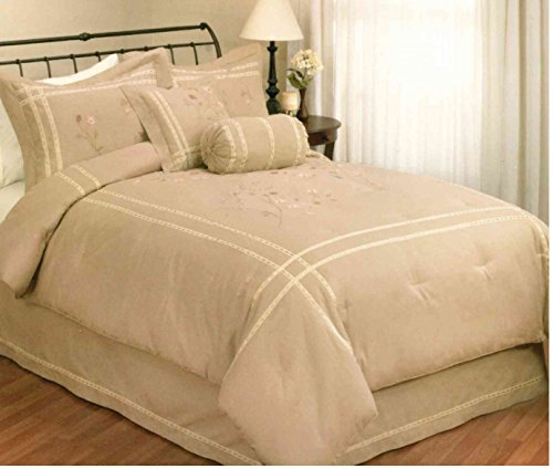 "Buy Cheap Timeless Traditions Embroidered Fiona Queen size Duvet cover 86""x86"" Tan"