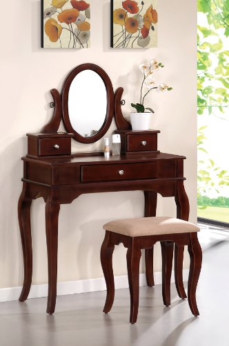 Bobkona Rylan Vanity Set with Stool, Dark Cherry