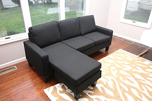 Large Black Cloth Modern Sofa