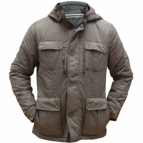 High quality Men's 4 pocket padded jacket with hood- Charcoal