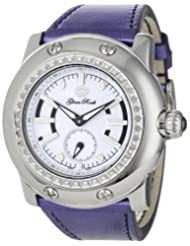 Glam Rock Women's GRD1019 Miami Diamond Accented Metallic Purple Leather Watch