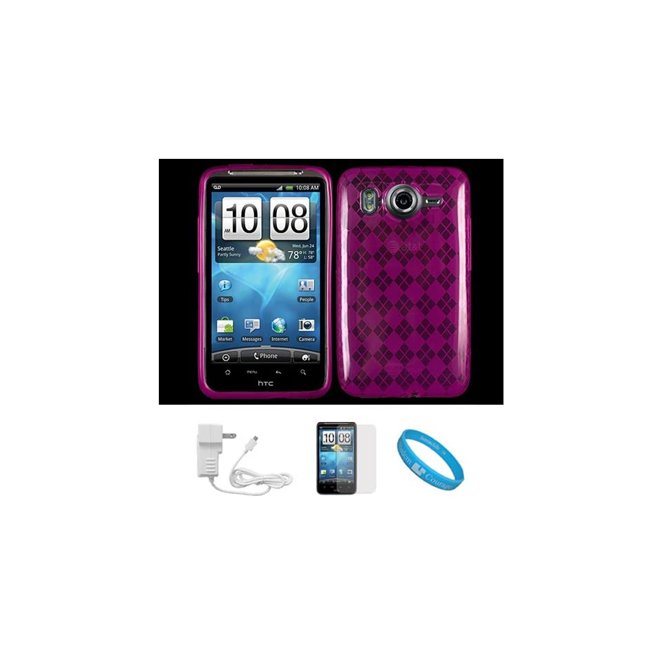 Magenta Argyle Transparent Thermoplastic Polyurethane Protecctive TPU Silicone Skin Cover for HTC Inspire 4G Android Smartphone also compatible with HTC Desire HD Wireless Mobile Phone + INCLUDES Clear Screen Protector Film Strip + White Rapid Home Charger