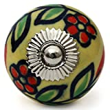 Knobs & Hooks Ceramic Cabinet Knob; Yellow+Red+Green; Set of four pieces