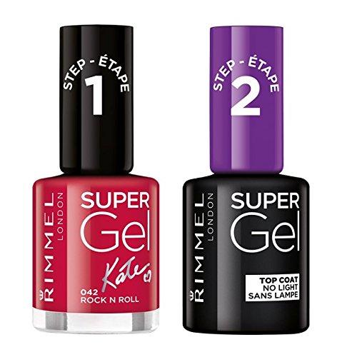 Rimmel Super Gel Kate Moss London-Smalto per unghie, 12 pezzi, tonalità carne Gel Soul sessione, Top Coat