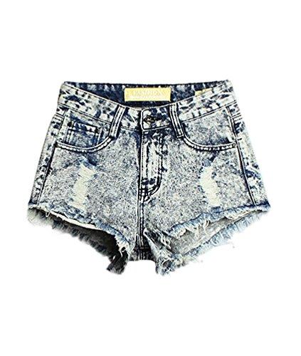 Baymate Donna Vintage Jeans Strappato Shorts Denim Pantaloncini Corti Denim Blu 38