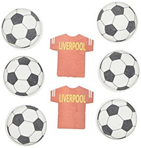 Holly Cupcakes Liverpool Edible Cake Decorations Football Shirts and Footballs ( Pack of 36 )