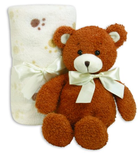 Stephan Baby Ultra Soft Plush Blanket Gift Set, Bear And Paw Print