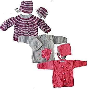 Newborn Baby Sweater Set For Infant Girl Boy Handknit